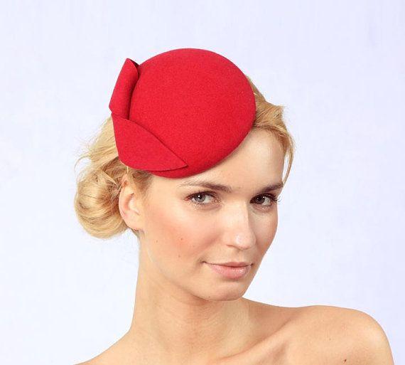 Oval Mini Hat Red  dark shade of raspberry Wool Felt by kagikagi, $52.00