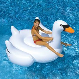 Giant White Inflatable Swan Float Toy.
