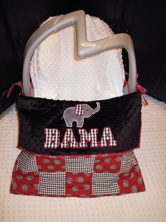 Houndstooth Bama Elephant Car Seat Quilt by ThreeRuthsQuilting, $45.00