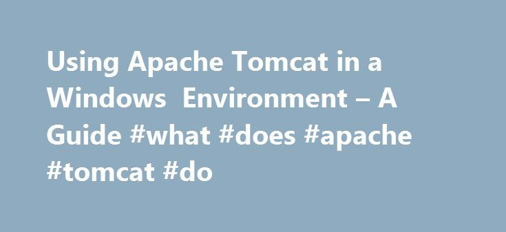 Using Apache Tomcat in a Windows Environment – A Guide #what #does #apache #tomcat #do http://ghana.nef2.com/using-apache-tomcat-in-a-windows-environment-a-guide-what-does-apache-tomcat-do/  # Apache Tomcat Windows Quick Start Guide Using Apache Tomcat in a Windows environment might seem simple enough, given that all Windows distributions include an installer to do all the Tomcat configuration work for you. However, while the installer will get Tomcat up and running for most users, quite a…