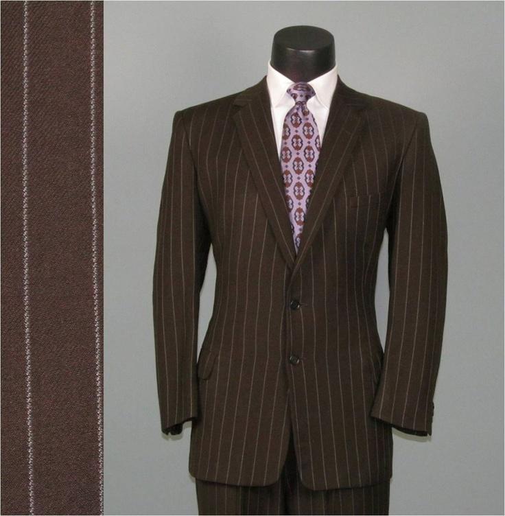 Vintage Men's Suit 1940s Brown Chalk Pinstripe Classic 2 Two Piece Men's Vintage Suit 42 44. $275.00, via Etsy.