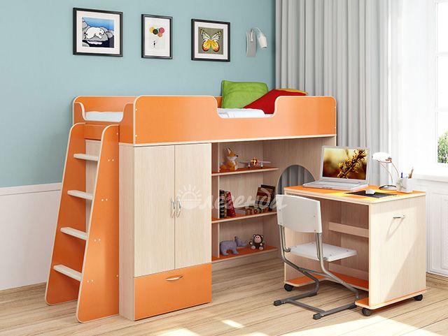 Детские кровати-чердаки с рабочей зоной : Кровать-чердак Легенда 3.2
