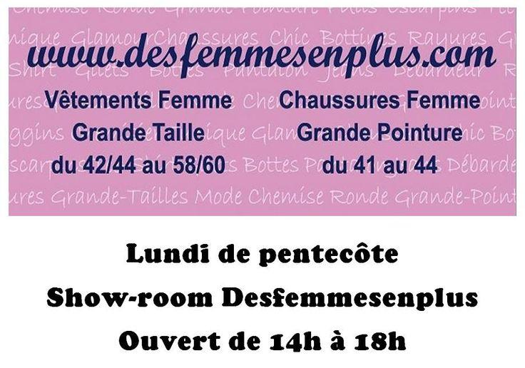 show-room desfemmesenplus Vêtements Chaussures Femme Grande Taille ouvert ce lundi de pentecôte de 14h à 18h !