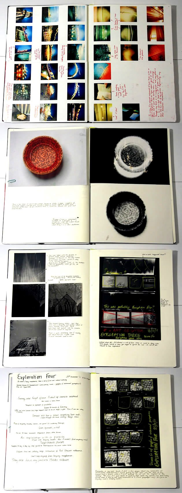 This accomplished A Level Photography sketchbook is a reminder that a simple presentation, with subtle variation, is often all that is needed. Thumbnail images (or darkroom negative proofs) are analysed, with compositions highlighted and scrawled over, allowing the quick communication of ideas. Even the selection of red and yellow pens is purposeful, linking seamlessly with the colours used throughout the portfolio. In these sketchbook pages, Ellie accompanies the photographs with thoughtful…