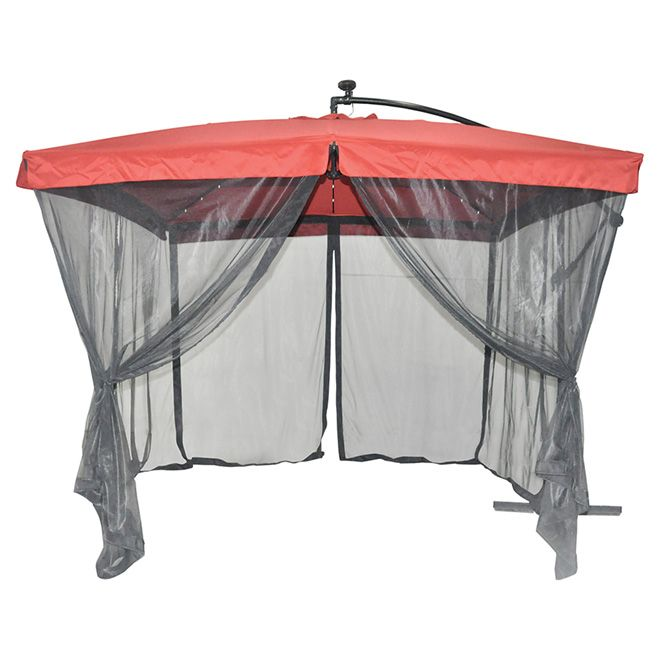 $149  Reg $199 Solar Light Cantilever Patio Umbrella With Netting  Easier  To Close