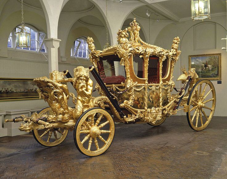 Gold State Coach, an eight horse-drawn carriage used by the British Royal Family. It was built in 1762 and has been used at the coronation of every British monarch since George IV. The coach's great age, weight, and lack of maneuverability have limited its use to grand state occasions such as coronations, royal weddings, and the jubilees of a monarch.