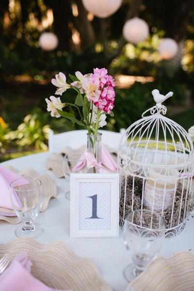 Bird cage centerpiece and table cards in frames