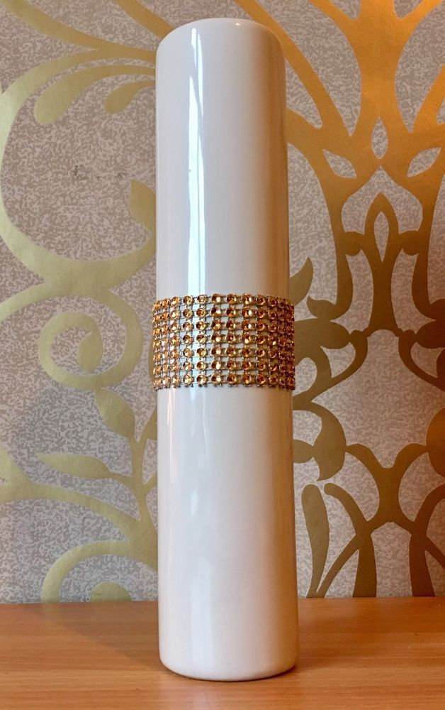 """Cream and Gold Diamante Bling Ceramic Vase 9.5"""" Tall Sparkly Cylinder Flowers"""