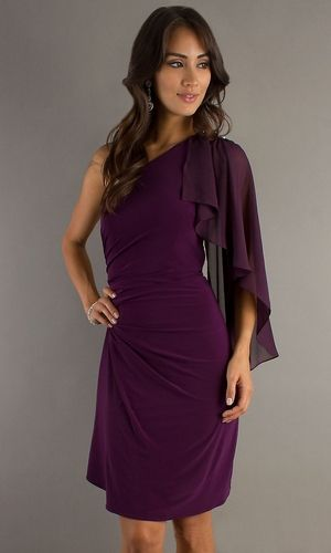 Knee Length Sexy Plum Cocktail Dress Chiffon One Shoulder Ruched