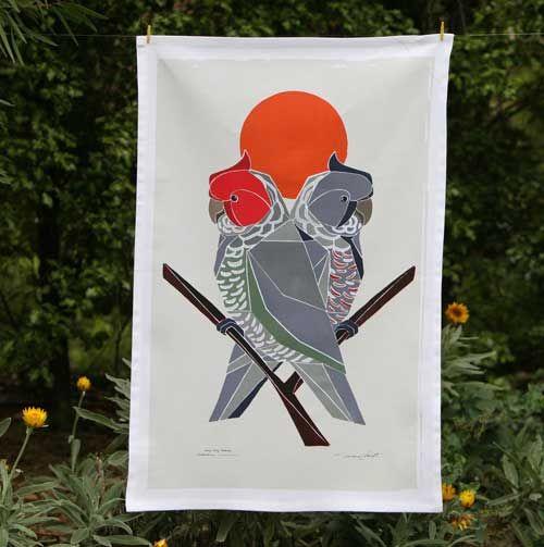 Australian Certified Organic Australian Birds tea towel -Gang Gang Cockatoo #certifiedorganic #teatowel #birdsofaustralia #organiccotton #kitchentextiles #blackcockatoo #easternrosella #ganggangcockatoo #kingparrot #galah #regentparrot #parrot #rosella
