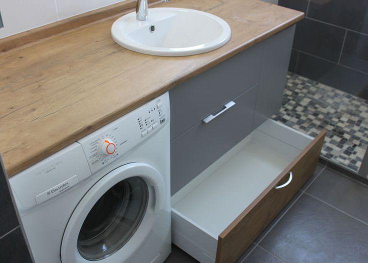 agencement d 39 une salle de bain avec un lave linge salle de bain pinterest tiroir meubles. Black Bedroom Furniture Sets. Home Design Ideas