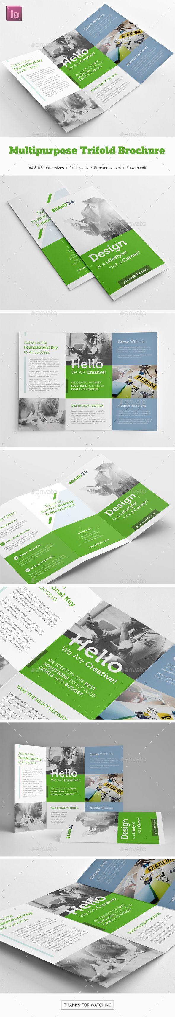 Multipurposel Trifold Brochure Template InDesign INDD  gostei desse retangulo verde embaixo de tudo passando por todas paginas