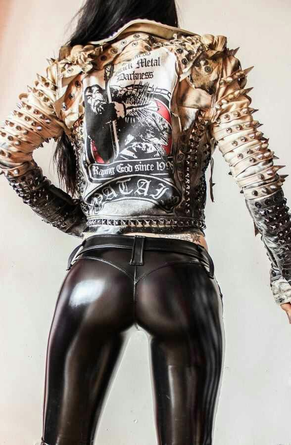 Rock Chick donning incredibly sexy spray on PVC Pants by Toxic Vision Clothing