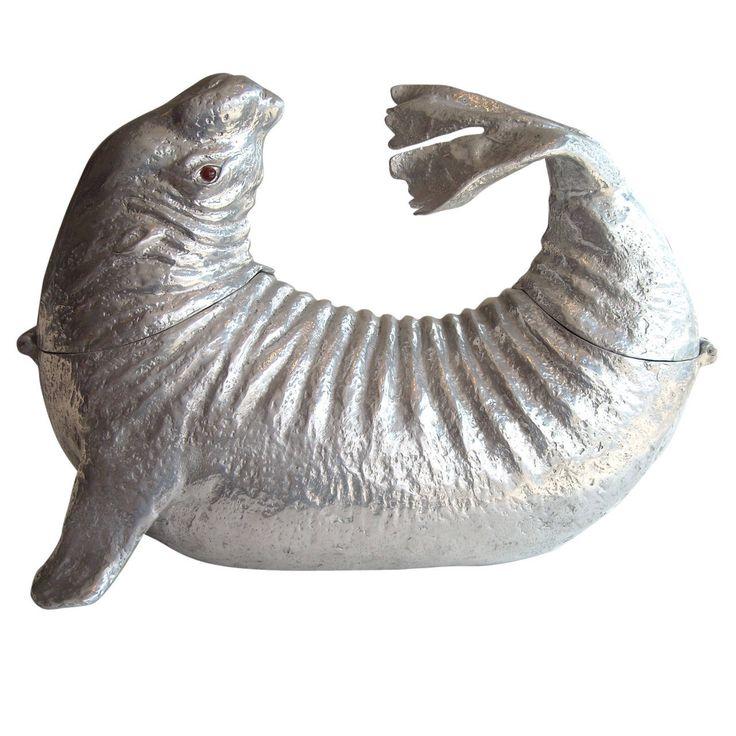 12 Cool Kentucky Derby Inspired Home Decor Ideas: Arthur Court, Mid Modern Sea Lion Aluminum Ice Bucket