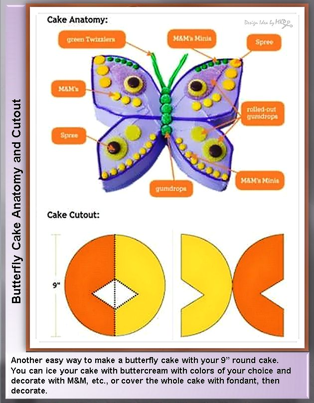 """Butterfly Cake Anatomy and Cutout  ~ Another easy way to make a butterfly cake with your 9"""" round cake. You can ice your cake with butter-cream with colors of your choice and decorate with M, etc., or cover the whole cake with fondant, then decorate."""