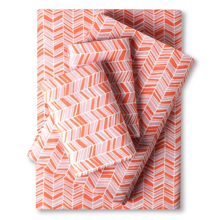 Easy Care Sheet Set (King) Coral Chevron - Room Essentials