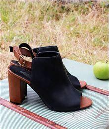 Tendance Chaussures Chaussures femme boots ouvertes bicolore NOIR