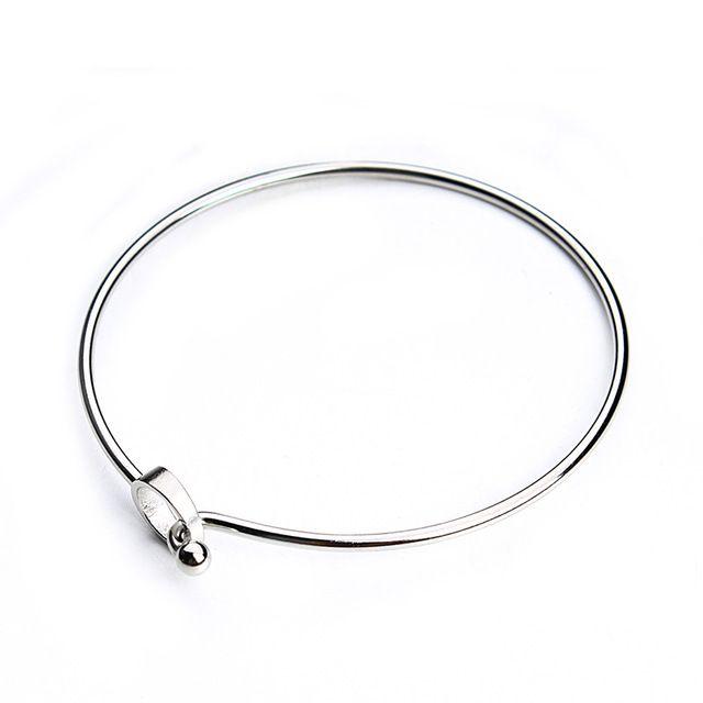 2pcs/lot Stainless Steel Clasp Cuff Bangle Bracelets Blanks Silver Tone Hook Charm Wire Bangle Bracelet Base Setting F3696