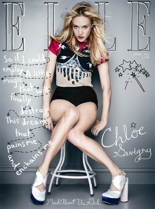 Chloe Sevigny | Elle UK I love the colors, the pose, and the little hand drawn images and script.