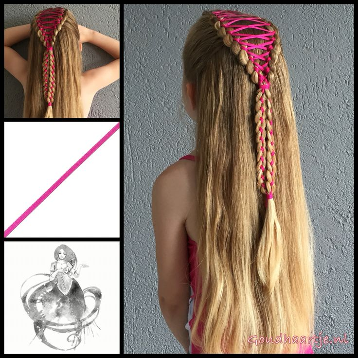 french braids with ribbon