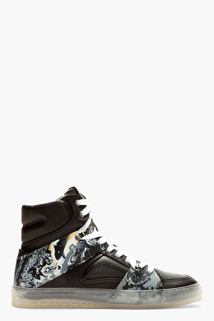 MCQ ALEXANDER MCQUEEN Leather rubber Marbled high-top sneakers