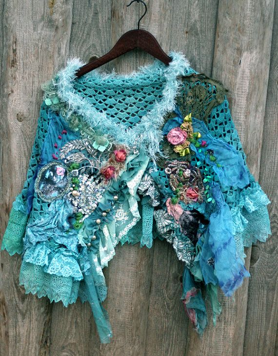 Bold shabby chic slightly asymmetric cape/shrug is made of crocheted lacy piece, adorned with textile collage from vintage