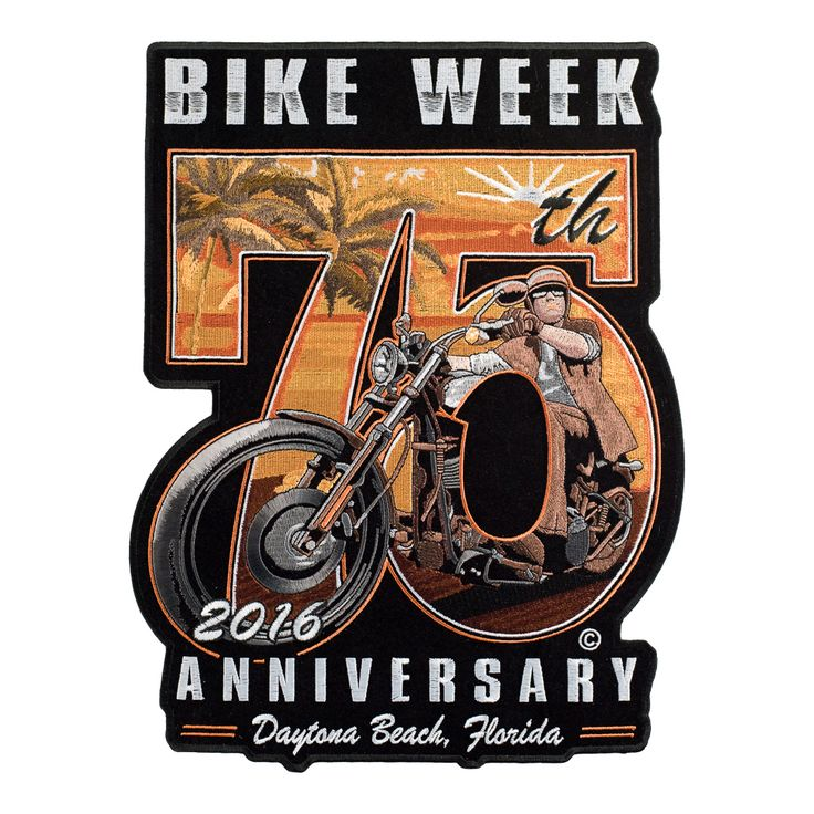 2016 Daytona Bike Week 75th Anniversary Event Patch Is Embroidered In Scenic Sunset Beach Design With Palm Trees Inside A 75 With Bike Week 2016 Anniversary Da