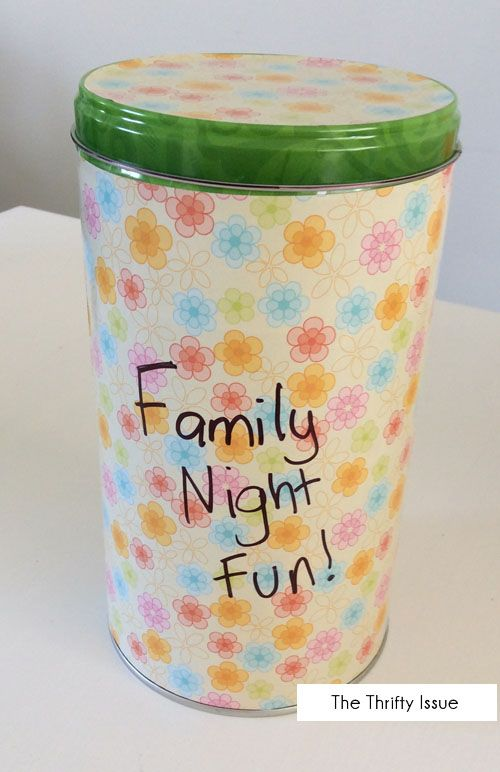 DIY Family Fun Night or Family Home Evening Tin