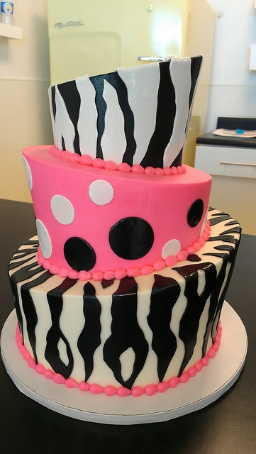 Topsy-Turvy Black and White and Pink zebra birthday cake by Retro Bakery in Las Vegas, via Flickr