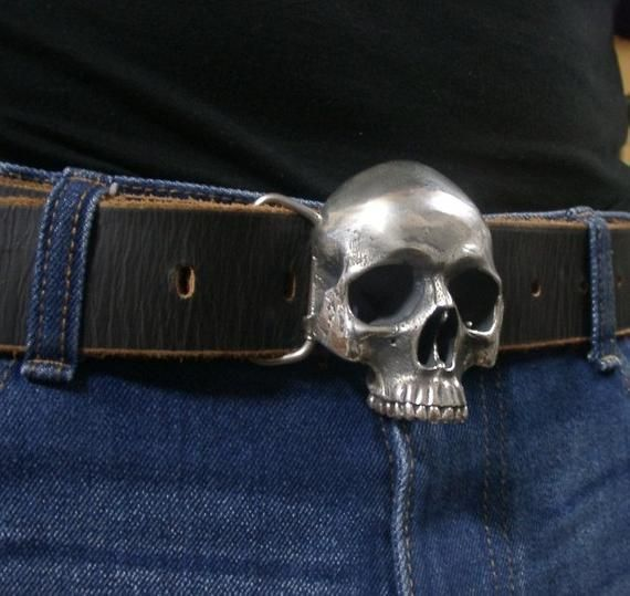 Handmade Brass Skull Belt Fastener Leather Carving Button up Original Men/'s Gift