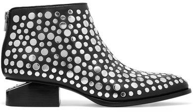 Alexander Wang - Kori Cutout Studded Leather Ankle Boots - Black