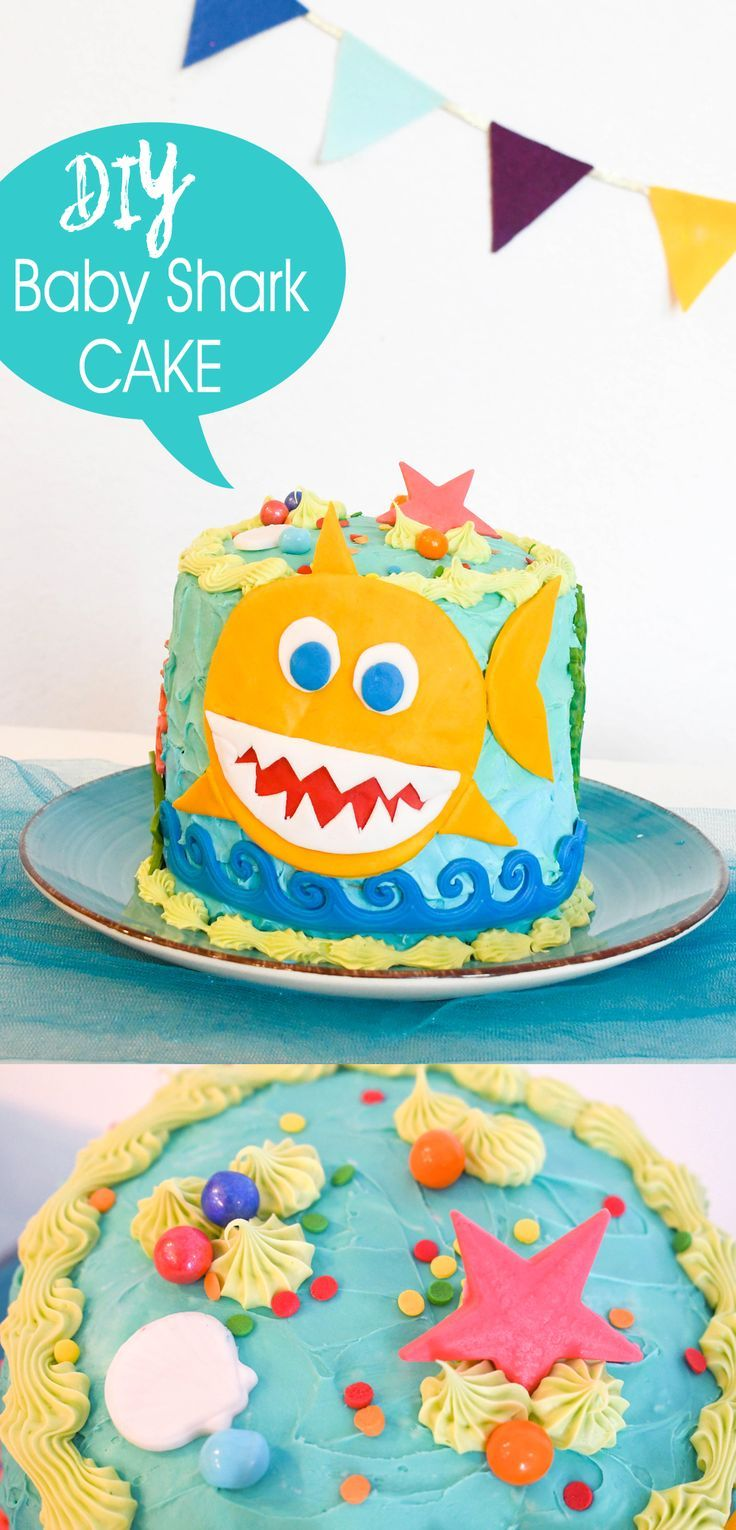 How To Make A Baby Shark Birthday Cake Shark Birthday Cakes Diy