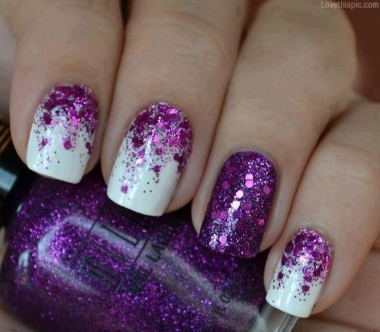 White & purple gradient glitter nails