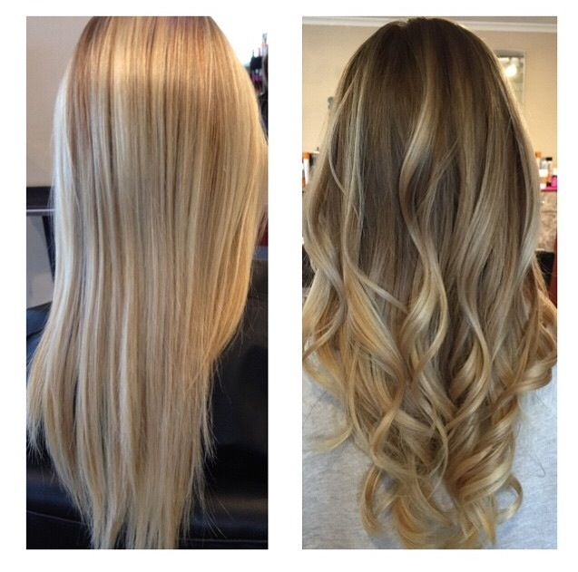 Before and after by Natalie Solotes at Exclusively Hair on Transit blonde Balayage ombre sombre rooted blonde dark blonde retouch fall Haircolor…