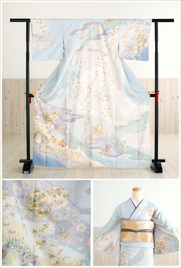 【楽天市場】訪問着レンタル 上品な淡青に彩花 hw1106【フル…