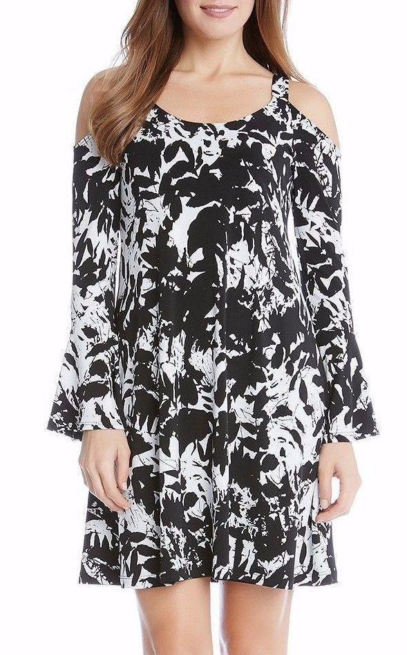Karen Kane Womens Cold Shoulder Flare Sleeve 1L65544 Leaf Print Dress Size XL 16 #KarenKane #CasualFullyLinedALineDress #AnyOccasion