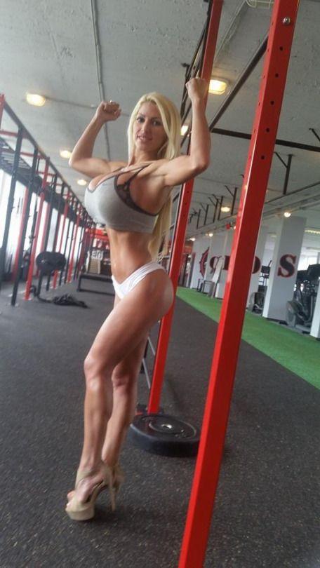 Blonde bimbo fake tits