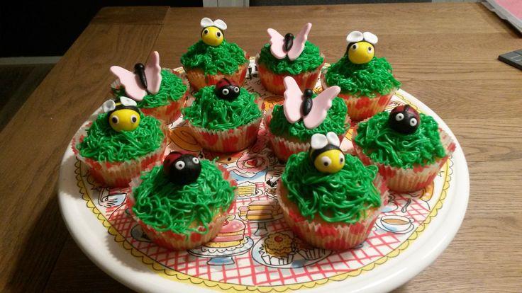 Cupcakes met bijen, vlinders en lieveheersbeestjes