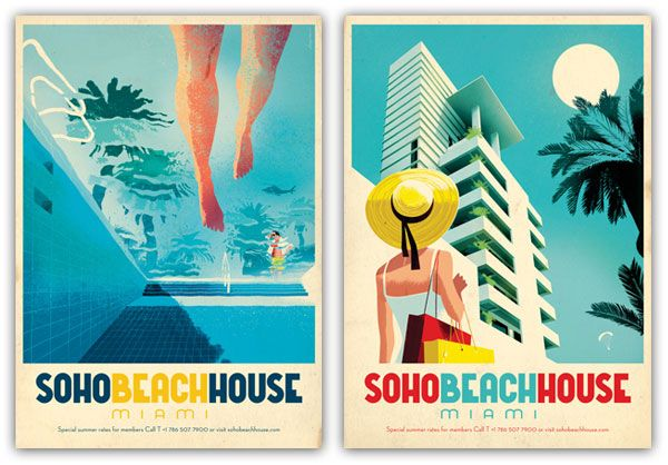 Soho Beach House Miami Posters from NOTCOT: http://www.notcot.com/archives/2011/08/soho-house-miami-posters-by-ci.php