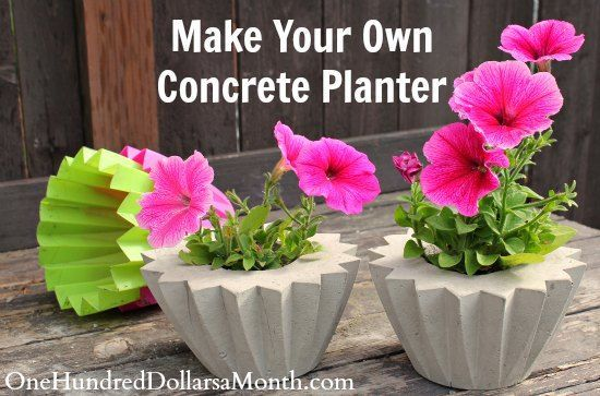 """<a href=""""http://www.onehundreddollarsamonth.com/how-to-make-a-concrete-planter/"""" target=""""_blank""""><strong>DIY Concrete Planter via One Hundred Dollars a Month</strong></a>"""
