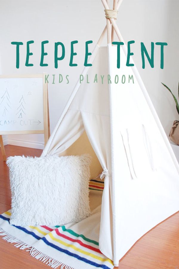 Handmade with superior quality fabrics and great attention to detail, Little Wanderer teepees are a wonderful space for little ones to call their own and immerse themselves in imaginative play! | kids playroom ideas | playroom decor | indoor playroom | kid spaces #Ad