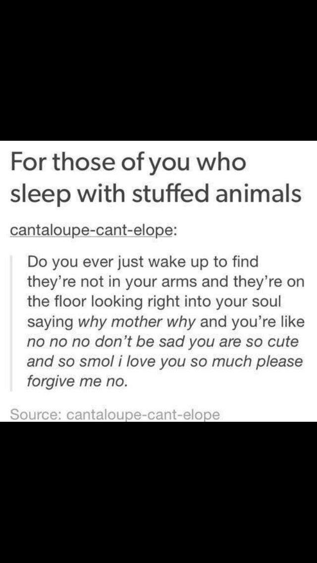 Dude this used to happen to me all the time and even tho I don't sleep with stuffed animals anymore I still feel guilty when they fall off of my shelf or bed or wherever