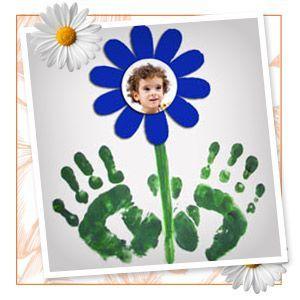 Spring handprint photo flower