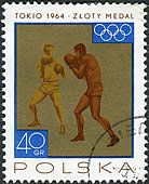 Postage stamp printed in Poland, shows the victories won by the Polish team in 1964 Olympic Games, Boxing - Stock Photo