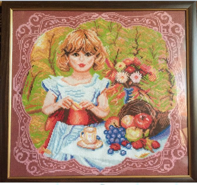 Completed cross stitch Home decoration Handmade embroidery Girl with fruit #Handmade #CrossStitch