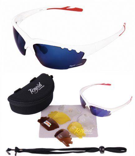 Breeze Cycle weiß RADSPORTBRILLE - Wechselgläsern (blau verspiegelt, klar und polarisiert), auch Mountainbike, Joggen, Laufen, Triathlon sportbrille. UV schutz 400. Für Herren und Damen