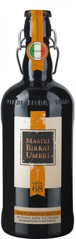 Cerveja Mastri Birrai Umbri Cotta 68, estilo Belgian Golden Strong Ale, produzida por Mastri Birrai Umbri, Itália. 7.5% ABV de álcool.