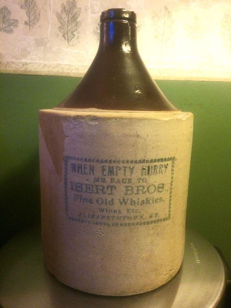 Details About Stoneware Whiskey Jug Kentucky Advertising