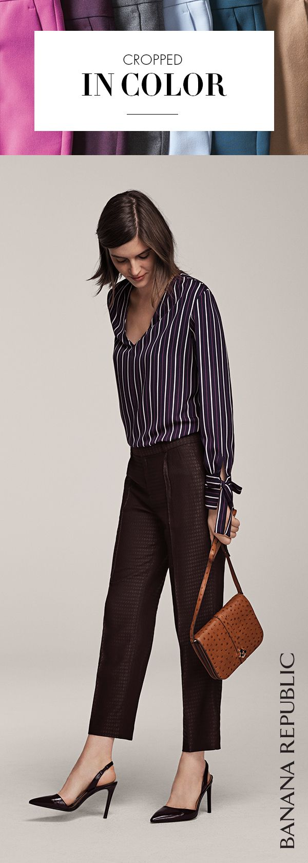 Single pleat. Tailored. Purple print. Yes, these pants are even longer on versatility in a new shorter cropped length. Wear them like black only better for 9-5 & beyond with feminine blouses, moto jackets and your favorite chic heels. Shop pants. | Banana Republic
