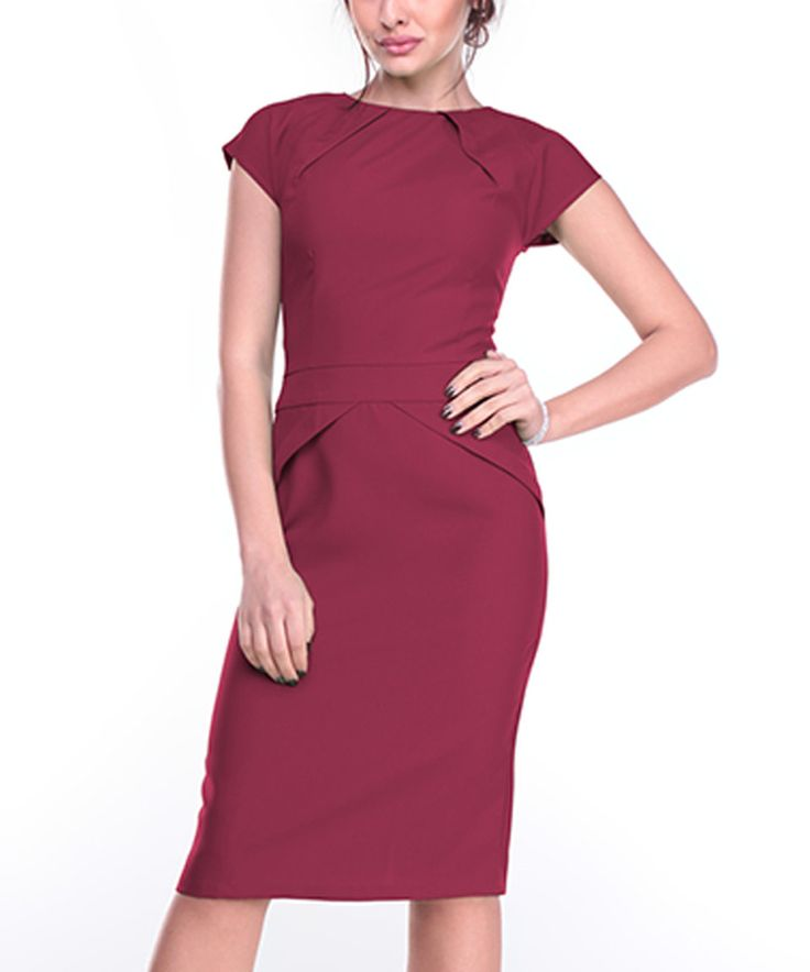 Take a look at this Plum Cap-Sleeve Sheath Dress - Plus Too today!